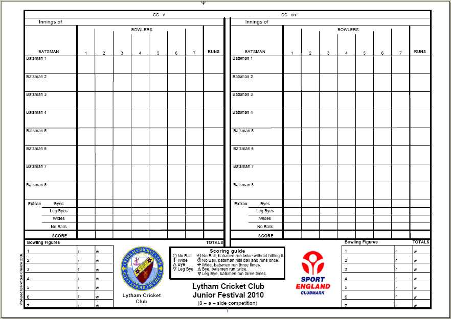 Lcc Downloads Sample Cricket Score Sheet Standard Cricket Score